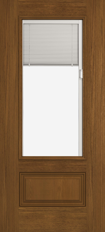Design Pro Fiberglass Exterior Doors Oak 3 4 View Blinds 1 Panel Glass Panel Reliable And Energy Efficient Doors And Windows Jeld Wen Windows Doors